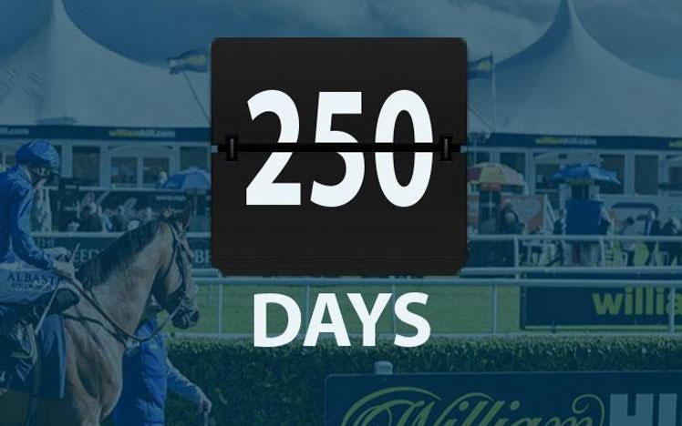 Promotional banner with a 250 days countdown graphic overlaid on top.
