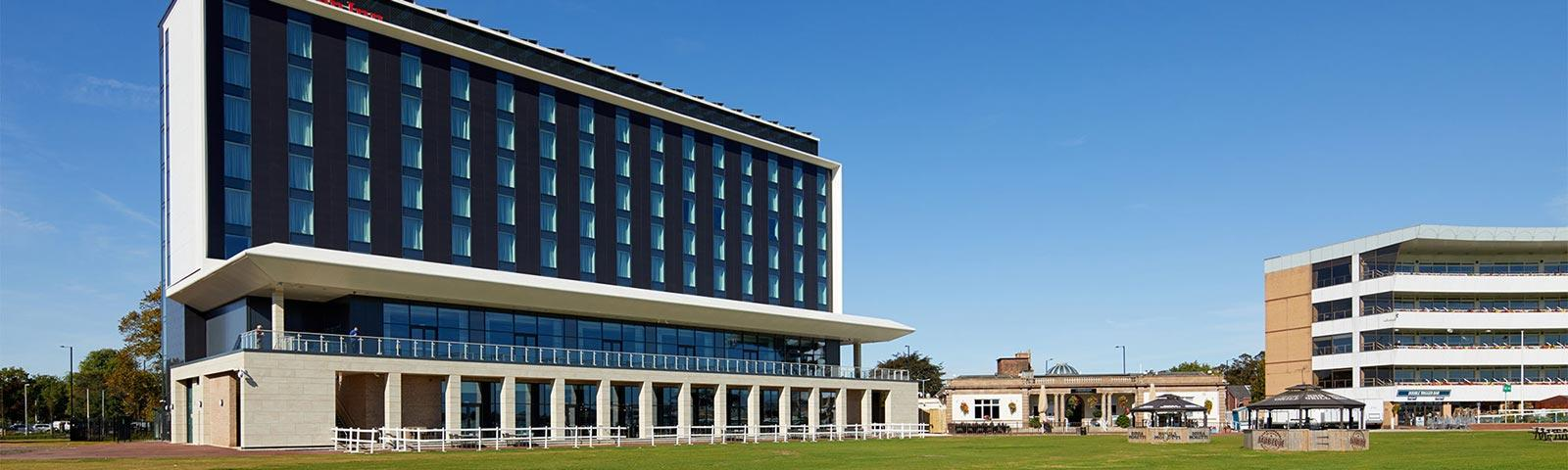 External view of the new Hilton hotel at Doncaster Racecourse.