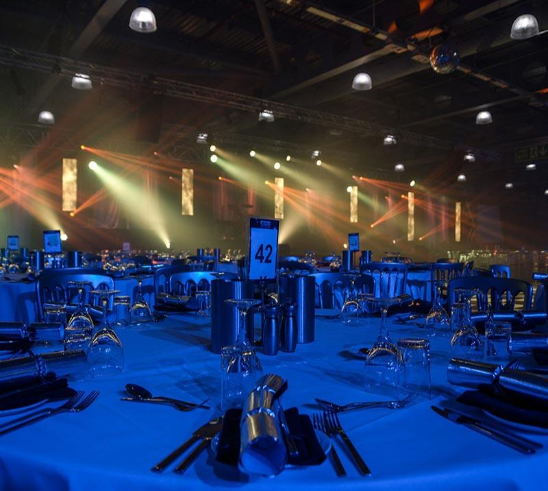 A table prepared for a Christmas Party night at Doncaster Racecourse.