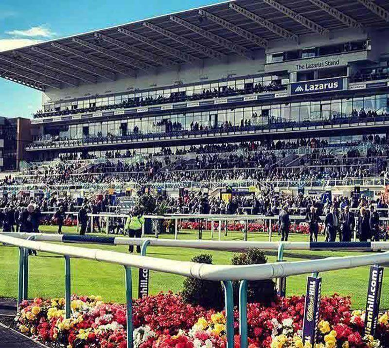 The main grandstand at Doncaster Racecourse