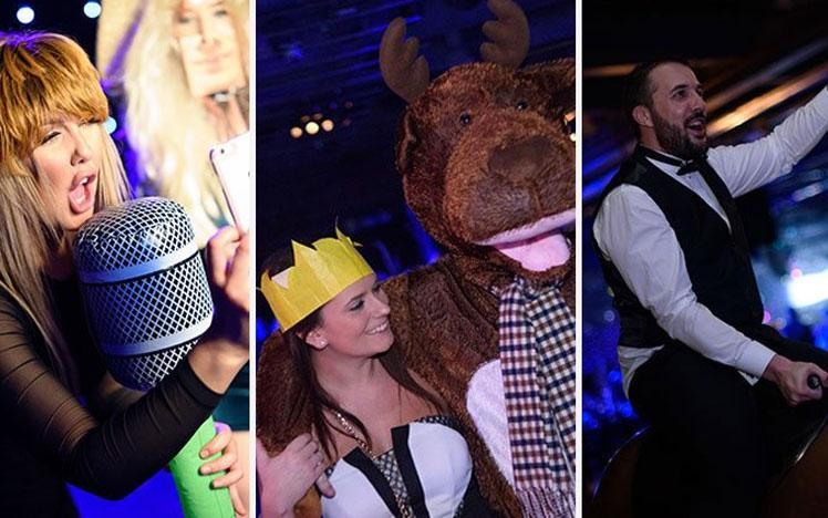 Collage of three photos of party goers at a Christmas Party at Doncaster Racecourse.