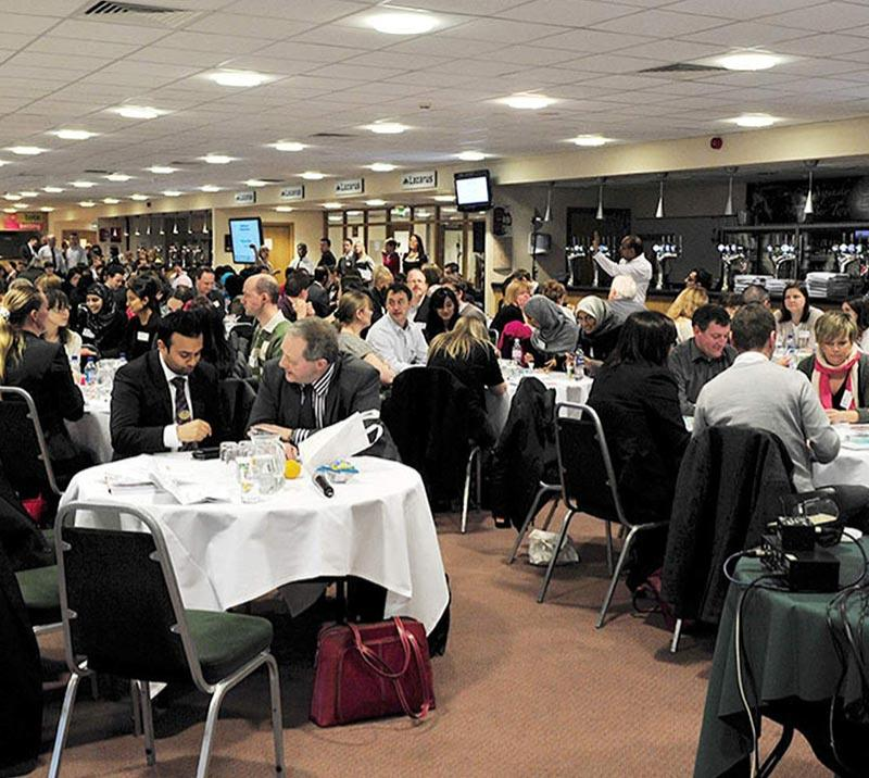 A crowded Nijinsky Suite at Doncaster Racecourse