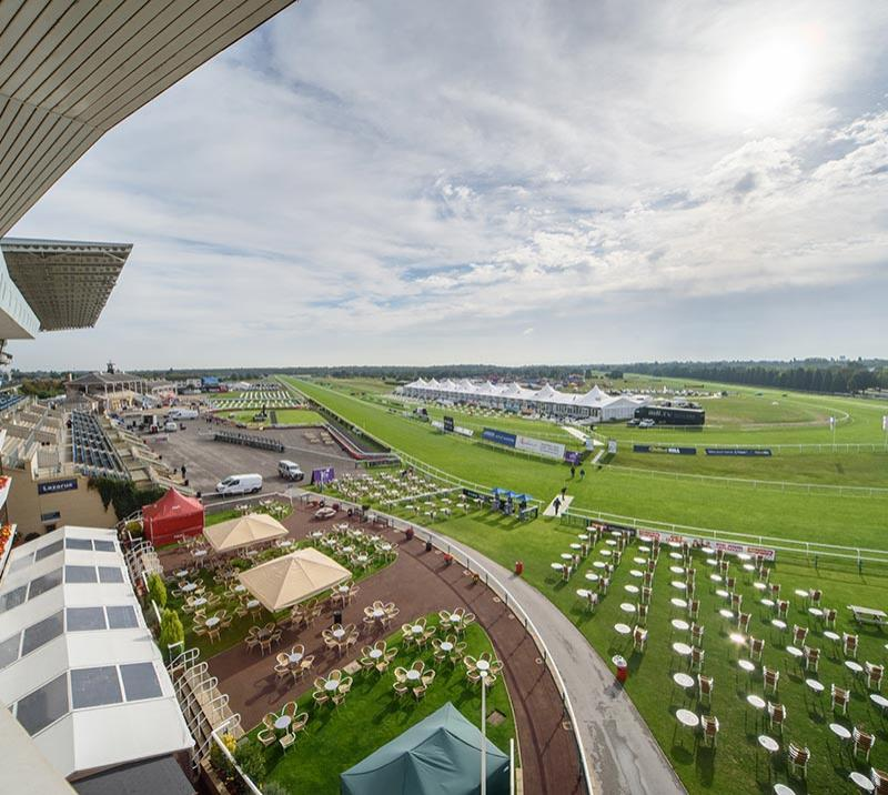 A view from the grandstand looking over Doncaster Racecourse