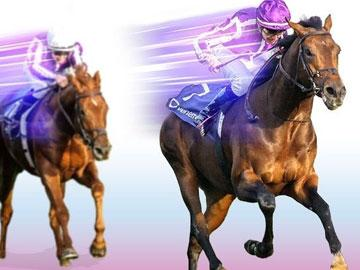 A graphic depicting two jockeys racing.