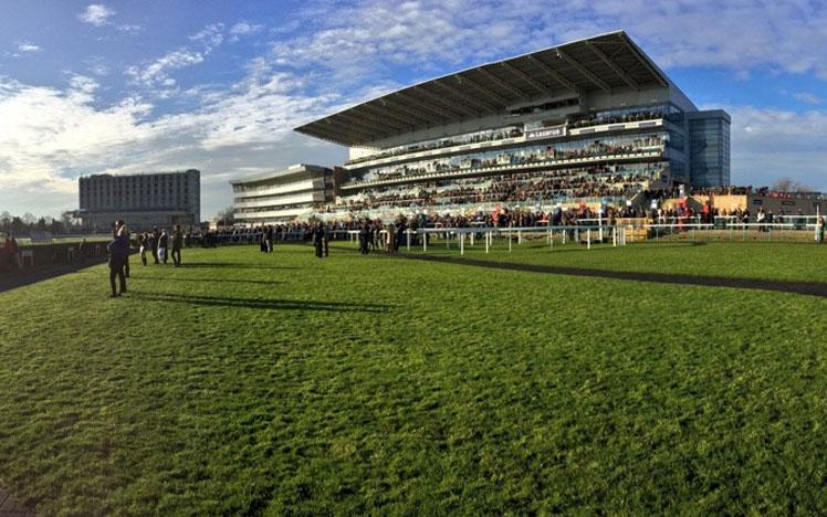 Photograph showing the main grandstand at Doncaster Racecourse.