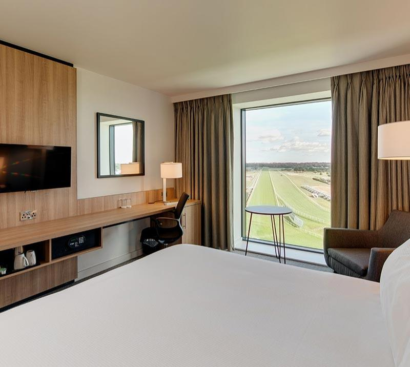 Interior of one of the rooms at Hilton hotel at Doncaster Racecourse.